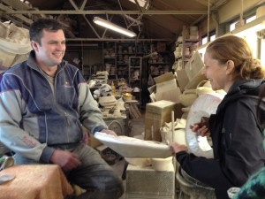 Edwina showing Alan her foam block sample.